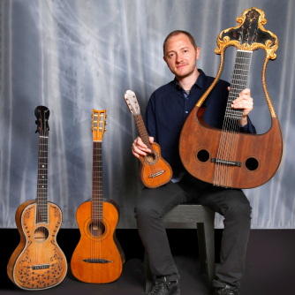 Fabricio Mattos with several guitars from the collection