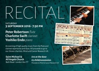Poster for3rd September Peter Robertson (flute) & Charlotte Swift (clarinet)