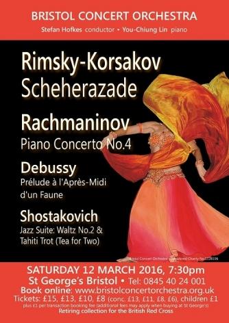 Bristol Concert Orchestra: Scheherazade, Rachmaninov Piano Concerto 4, Shostakovich & Debussy