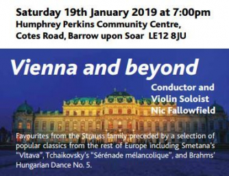 The Charnwood Orchestra celebrate the New Year in style with the music of Vienna and beyond. Throw off those post-Christmas blues, with an evening of toe tapping Polkas and Waltz's, along with other classical favourites