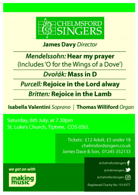 An evening of choral music for a summer's evening.