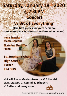 The best pieces for voice & piano  from more than 15 concerts performed in Devon