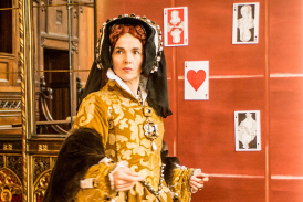 Clare McCaldin as Queen Mary I. Photo by Robert Workman