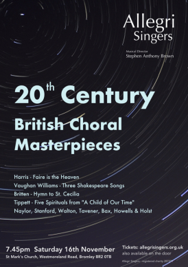 A fabulous programme of 20th Century Choral Masterpieces, sacred and secular.