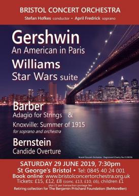 Bristol Concert Orchestra 29 June 2019 concert poster