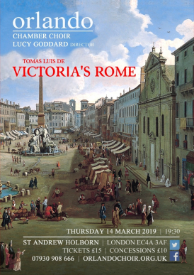 "Flyer for Orlando Chamber Choir's concert ""Victoria's Rome"""