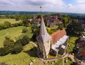 Aerial photo of St. Dunstan's Church, Mayfield