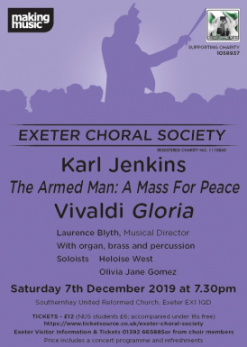 Exeter Choral Society concert flyer 7 December 2019