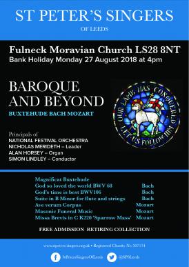 St Peter's Singers - Baroque & Beyond concert poster
