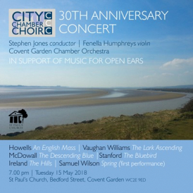 Concert information featuring photo of the Severn estuary near Lydney, Gloucestershire, birthplace of Herbert Howells