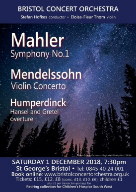 Bristol Concert Orchestra: Mendelssohn Violin Concerto, Mahler Symphony No.1 & Humperdinck concert poster