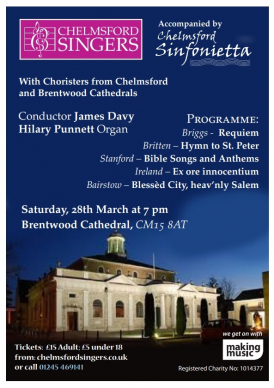 Poster for the concert shows photo of Brentwood cathedral and singers logo
