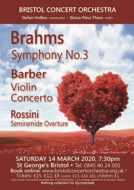 Bristol Concert Orchestra 14 March 2020 concert poster