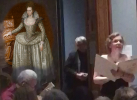 Sophia and Din at the NPG with Anne of Denmark in the background