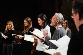 Mark Padmore and soloists singing in Battersea Arts Centre