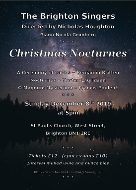 Brighton Singers perform a special programme of exciting works written round the Christmas theme. Enjoy mulled wine and mince pies in the interval.