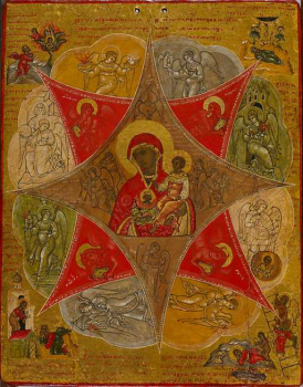 Presentation of the Virgin in the Temple and the Virgin of the Burning Bush, Russian anon, c. 1598, via Wikimedia Commons