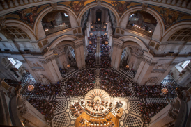 An orchestra performs in St Paul's