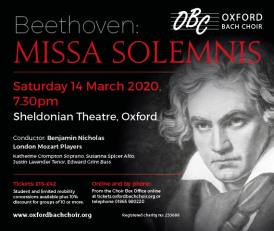 Poster for Oxford Bach Choir's Missa Solemnis concert