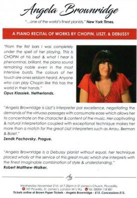 Angela Brownridge plays Chopin, Liszt & Debussy
