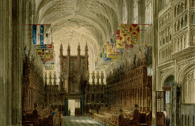 A view of the St George's Chapel, Windsor Castle, from the Altar. W H Pyne (1819)