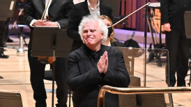 Photo of Sir Simon Rattle at the Barbican.